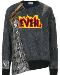 Kolor - Embroidered patchwork sweater - Lyst