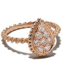 Boucheron 18kt Rose Gold Diamond Serpent Bohème S Motif Ring - Metallic