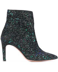 P.A.R.O.S.H. High Heeled Two Tone Glitter Boots - Black
