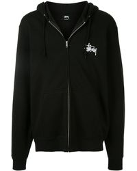 Stussy Logo printed zipped hoodie - Nero