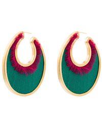 Katerina Makriyianni Green 24k Gold-plated Oval Silk Earrings