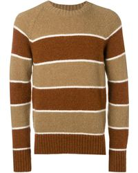 AMI Crew Neck Raglan Sleeves Striped Sweater - ブラウン
