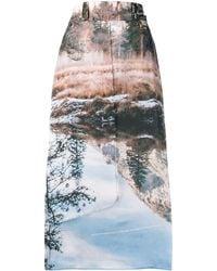 House Of Sunny Scenic Print Midi Skirt - Blue