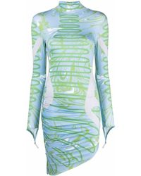 Maisie Wilen Abstract-print Asymmetric Dress - Blue