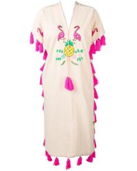Dolci Follie Flamingo Embroidered Kaftan - Multicolor