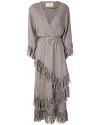 Framed Colorado Fringed Midi Dress - Grey