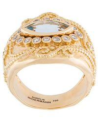 Aurelie Bidermann - 'cashmere' Aquamarine And Diamond Ring - Lyst