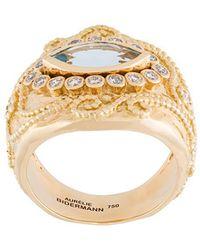 Aurelie Bidermann - 'cashmere' Aquamarine And Diamond Ring - Lyst