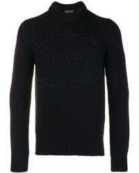 Prada - Pullover mit Logo-Stickerei - Lyst