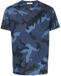 Valentino Camouflage Print T-shirt - Blue