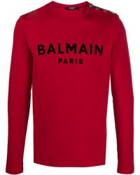 Balmain ロゴ ロングtシャツ - レッド