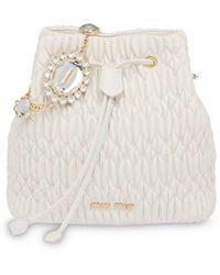 Miu Miu ビジューバケットバッグ - ホワイト