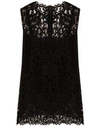 Dolce & Gabbana ノースリーブ レーストップ - ブラック