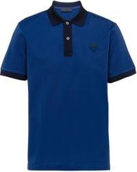 Prada ロゴパッチ ポロシャツ - ブルー