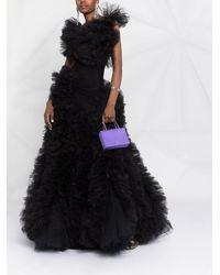 Loulou Vestido de fiesta de tul con volantes - Negro