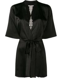 Fleur Of England Slim-fit Belted Robe - Black