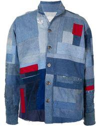 Greg Lauren Giacca denim con design patchwork - Blu