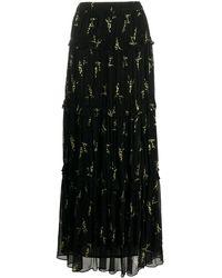 Ba&sh Floral Tiered Skirt - Black
