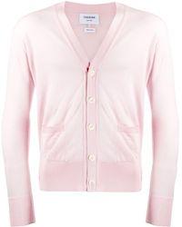 Thom Browne Classic V-neck Cardigan - Pink