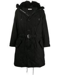 Givenchy Furry Hood Belted Parka Coat - Black
