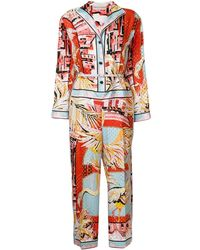 Emilio Pucci Printed Eyelet-embellished Jumpsuit - Red