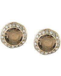 Rosa Maria smokey quartz and diamond studs - Metallic OHxAcZF