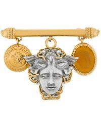 d997080b4f2c Versace Medusa V-shaped Brooch in Metallic - Lyst