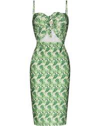 Adriana Degreas Vestido midi con estampado floral - Verde