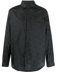 424 ロゴ チェックシャツ - ブラック