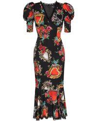 Dolce & Gabbana Sacred Heart Print Puff Sleeve Dress - Black