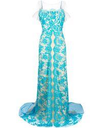 Parlor Vestido largo con bordado de encaje - Azul