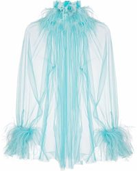 Styland Feather-trim Sheer Blouse - Blue
