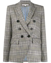 Veronica Beard Miller Dickey Double-breasted Plaid Blazer - Grey