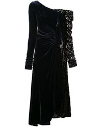 Monse Sequin-panel Velvet Gown - Blue