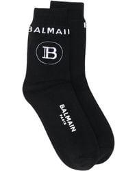 Balmain ロゴ 靴下 - ブラック