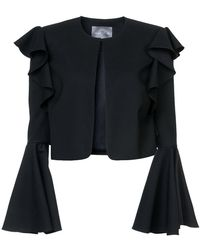 Monique Lhuillier - Cropped Bell Sleeved Jacket - Lyst
