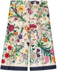 Gucci Pantalon ample à fleurs - Blanc
