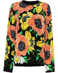 Ashish Floral-motif Sequin-embellished Sweatshirt - Black