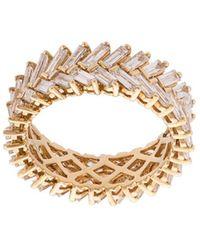 Anita Ko 18kt Yellow Gold Diamond Baguette Double Row Ring - Metallic