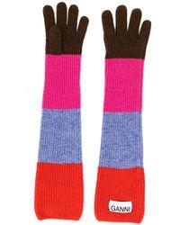 Ganni Striped Long Gloves - Red
