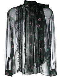 Valentino - Blusa semi trasparente a fiori - Lyst