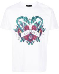 John Richmond ラインストーンロゴ Tシャツ - ホワイト