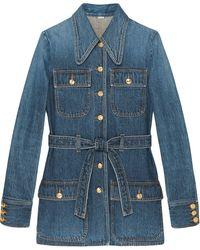 Gucci Jeansjacke mit mehreren Taschen - Blau