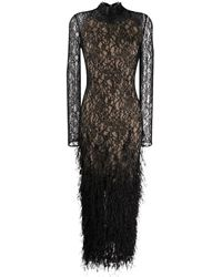 Ralph & Russo Lace Feather-embroidered Grown - Black