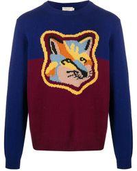 Maison Kitsuné Colour-block Fox Head Knitted Jumper - Blue