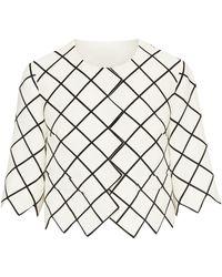 Oscar de la Renta Zigzag-hem Cropped Jacket - White