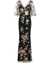 Marchesa notte Вечернее Платье С Цветочной Вышивкой - Черный