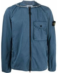 Stone Island Compass Patch Zip-up Hooded Jacket - Blue