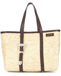 KATE CATE Spina Straw Tote Bag - Brown