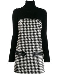Philipp Plein Houndstooth Knitted Dress - Black